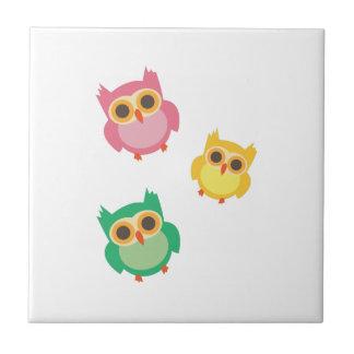 colorful owls ceramic tiles