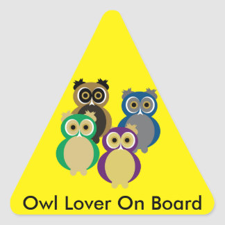Colorful Owls Triangle Sticker