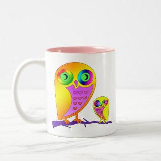 Colorful Owls Two-Tone Coffee Mug
