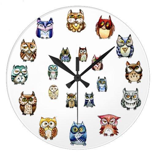 Colorful Owls Wallclock