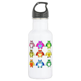 colorful owls water bottle