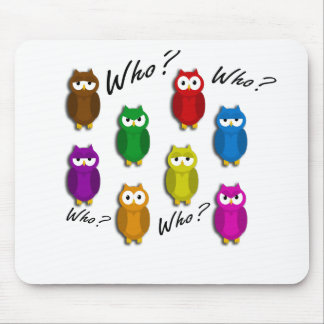 Colorful owls - Who? Who? Mouse Pad