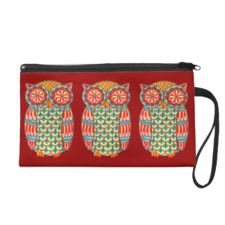 Colorful Owls Wristlet
