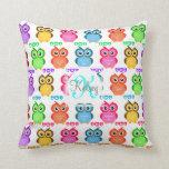 Colorful Own Monogram Throw Pillows