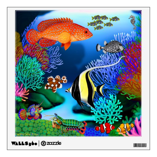 Colorful Pacific Coral Reef Fish Wall Decal | Zazzle.com