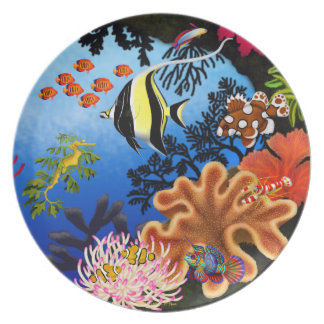 Colorful Pacific Coral Reef Life Plate