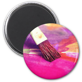 Colorful paint brush background magnet