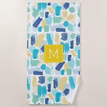 Beach Themed Colorful Paint Brush Strokes and Yellow Monogram Beach Towel
