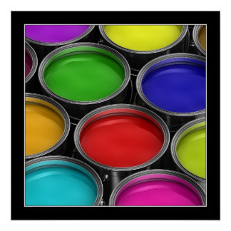 Colorful paint cans - Poster