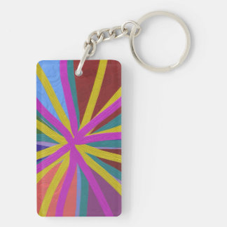 Colorful Paint Doodle Lines Converging Pin Wheel Keychain