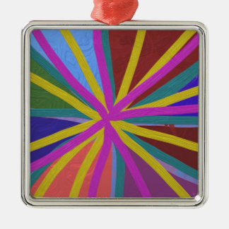Colorful Paint Doodle Lines Converging Pin Wheel Metal Ornament