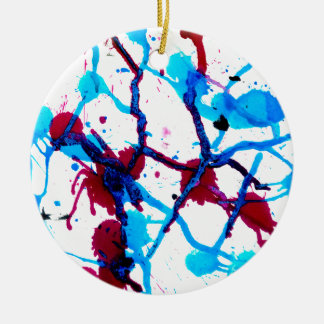 Colorful Paint Drips 10 Ceramic Ornament