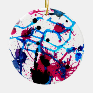 Colorful Paint Drips 12 Ceramic Ornament