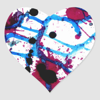 Colorful Paint Drips 12 Heart Sticker