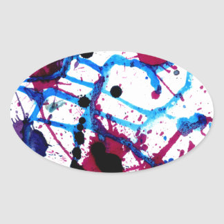 Colorful Paint Drips 12 Oval Sticker