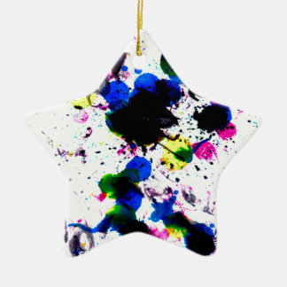 Colorful Paint Drips 3 Ceramic Ornament