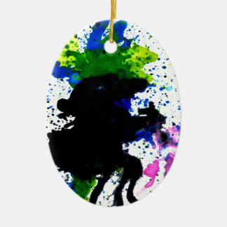 Colorful Paint Drips 5 Ceramic Ornament