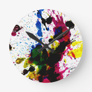 Colorful Paint Drips 8 Round Clock
