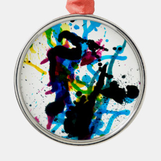 Colorful Paint Drips 9 Metal Ornament