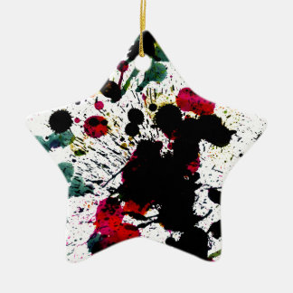 Colorful Paint Drips Ceramic Ornament