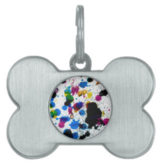 Colorful Paint Drips Pet Name Tag