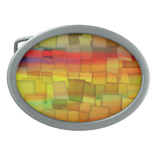 COLORFUL  PAINT RAINBOW ART 3 OVAL BELT BUCKLE
