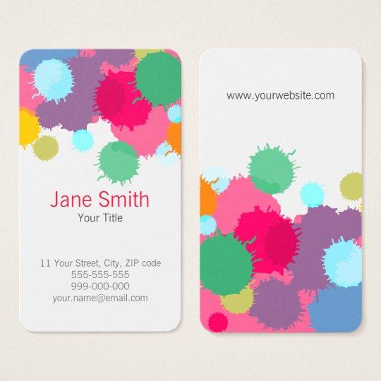 Colorful Paint Splash Ink Blots business card