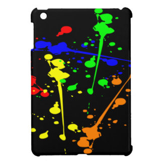 COLORFUL PAINT SPLASH ON BLACK IPAD COVER