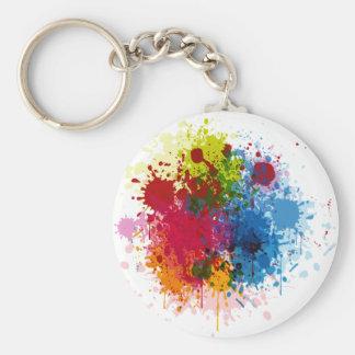 Colorful Paint Splatter Basic Round Button Keychain