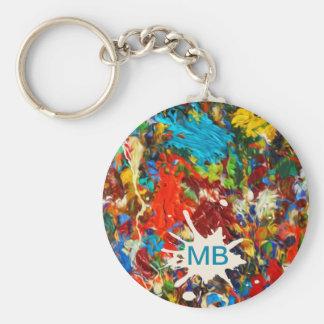 Colorful Paint Splatter Monogram Key Chains