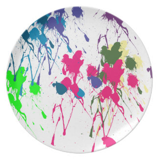 Colorful paint splatter party plate