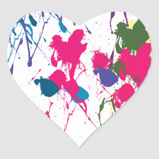 Colorful paint splatter heart stickers