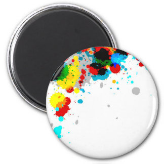 Colorful Paint Stains 2 Inch Round Magnet