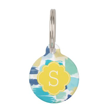 Beach Themed Colorful Paint Strokes Monogram Pet Name Tag