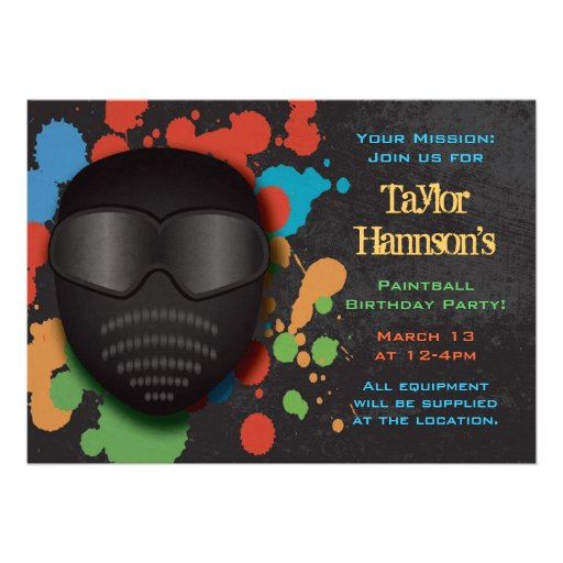 Colorful Paintball Birthday Party Invitation