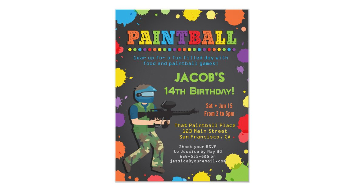 Colorful Paintball Birthday Party Invitations | Zazzle.com