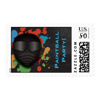 Colorful Paintball Birthday Party Postage Stamp