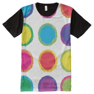 Colorful Painted Blue Red Yellow Purple Circles All-Over-Print T-Shirt