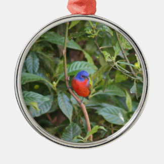 Colorful Painted Bunting Bird Metal Ornament