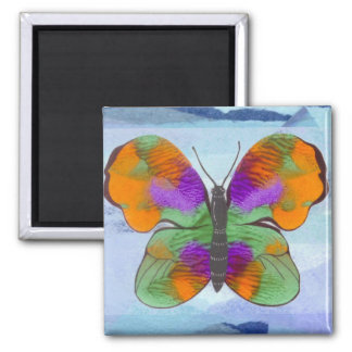 Colorful Painted Butterfly 2 Inch Square Magnet