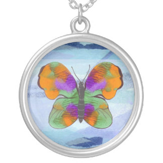 Colorful Painted Butterfly Round Pendant Necklace