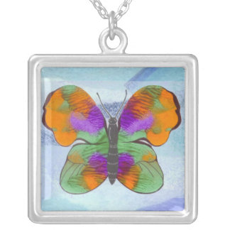 Colorful Painted Butterfly Square Pendant Necklace