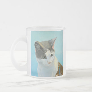 Colorful painted cat portrait frosted glass coffee mug
