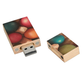 colorful painted Easter eggs, usb flash drive
