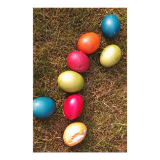 Colorful Painted Eggs in Garden, Easter Egg Stationery