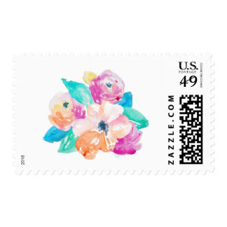 Colorful Painted Flowers Postage Stamp