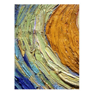 Colorful Painted Orange and Blue Details Van Gogh Postcard