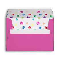 Colorful Painted Paw Prints Pink Envelope