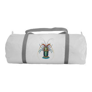 Colorful Painted Spiny Lobster Gym Duffle Bag