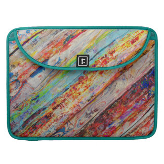 Colorful Painted Wood Planks Sleeve For MacBook Pro